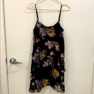 Topshop Floral print ruffle tiered dress